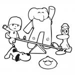 Personajes de Pocoyo Pato Eli Lula Pajaroto jugando en columpio
