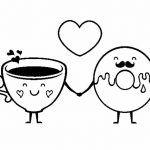 Café y dona rosquilla enamorados para san valentin