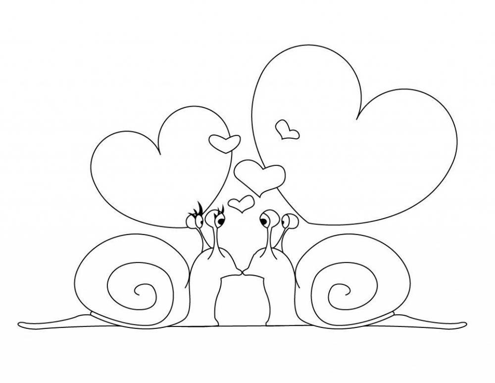 Caracoles enamorados para colorear y dibujar - Dibujos De