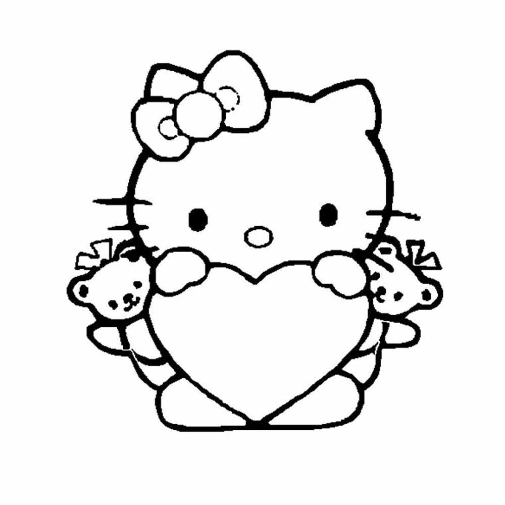 Hello Kittie san valentin con corazon para colorear y ...