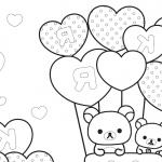 gatitois con globos en forma de corazon para san valentin