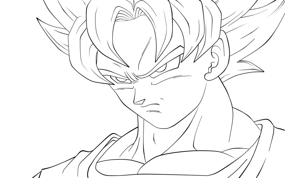 Dibujos Para Colorear Dibujos De Dragones Para Imprimir 4: Imagen De Goku Para Colorear