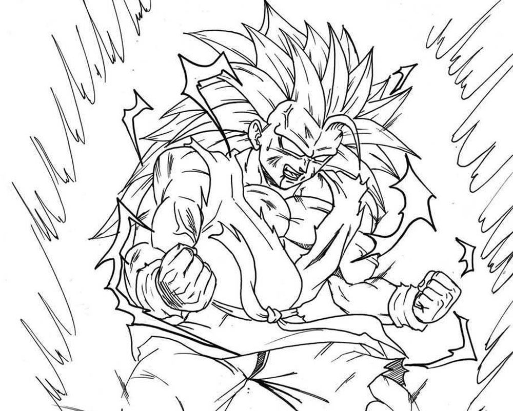 Dibujos Para Colorear Dibujos De Dragones Para Imprimir 4: Son Goku Fase 3 A Fase 4 Para Iluminar Y Colorear