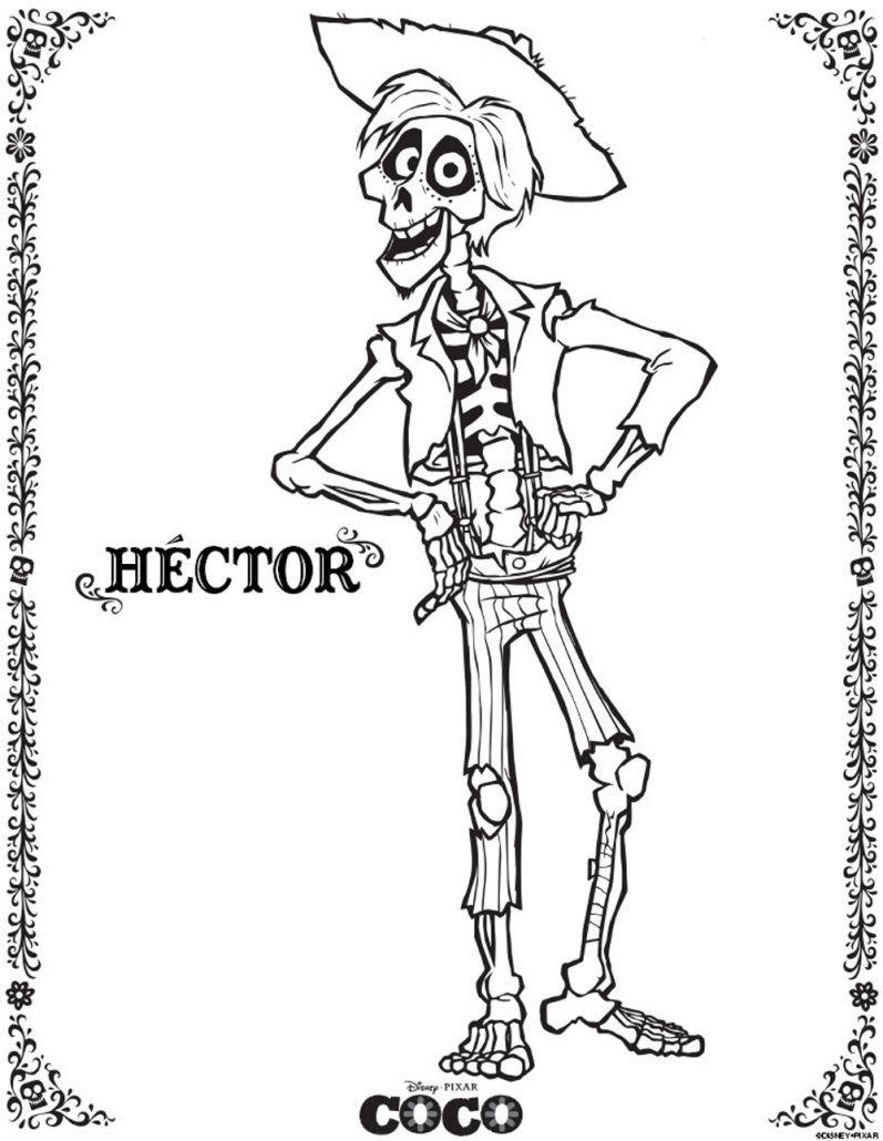 Coco imagen para colorear de Hector de la pelicula disney pixar dibujar imprimir recortar y adornar