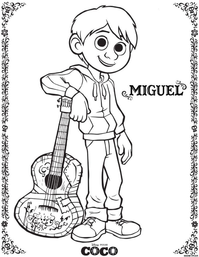 Miguel COCO imagen para colorear dibujar pintar imprimir recortar y adornar disney pixar pelicula